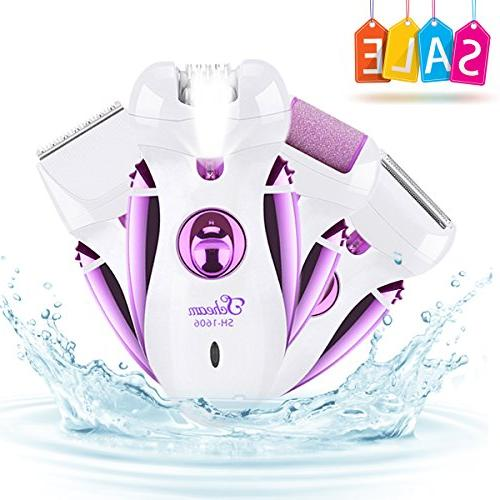 Rechargeable Electric Epilator, Scheam 4 in 1 Callus Remover