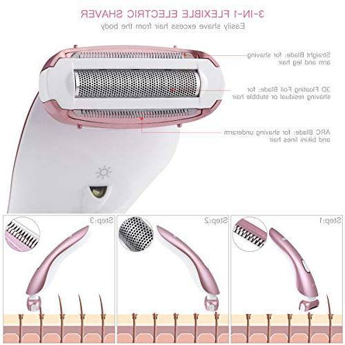 Frcolor Women Electric Ladies Electric Hair Epilator Waterproof Trimmer,