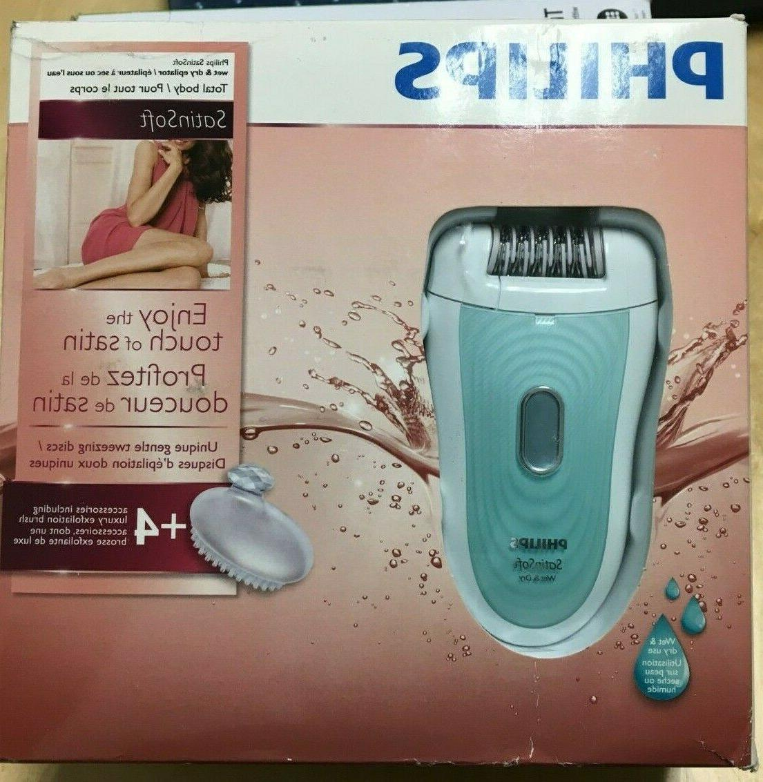 satin soft wet dry cordless epilator hp6521